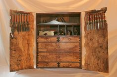 Spalted Maple and Walnut Tool Cabinet. Forget the tools, I want in my living room. Grizzly Woodworking, Woodworking Tools For Sale, Essential Woodworking Tools, Unique Woodworking, Rockler Woodworking, Woodworking Workshop, Woodworking Projects, Woodworking Videos, Wood Projects