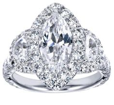 2.75 Carats Marquise Cut Three Stone Diamond Engagement Ring on 14K White Gold EGL Certified Gift