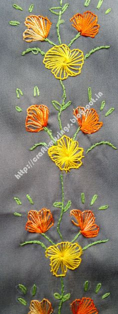 Crafti Musings..: Saree Embroidery 11 - Buttonhole wheel flowers