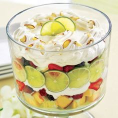 Lime-Berry Mousse Trifle - The Pampered Chef®, beautiful summer dish.