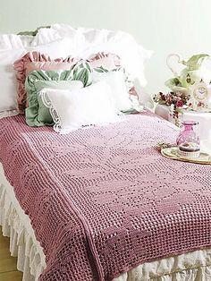 Ravelry: Bed of Roses Filet Crochet Throw (free pattern) by Glenda Winkleman
