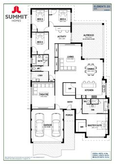 Summit Elements 233 Kitchen (1241×1766) One Floor House Plans, Craftsman Floor Plans, Summit Homes, Floor Plan 4 Bedroom, Contemporary House Plans, New Home Designs, New Homes, How To Plan, House Design
