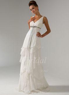 8079ab6112c Wedding Dresses -  186.99 - Empire V-neck Sweep Train Chiffon Wedding Dress  With Beading