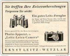 Original-Werbung/ Anzeige 1928 - LEITZ FERNGLAS / LEICA KAMERA / WETZLAR  -  ca. 140 x 110 mm