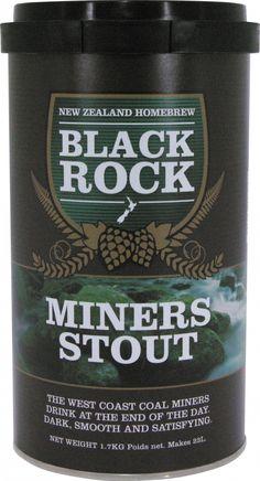 Black Rock Miners Stout  Gustarea de seara a minerilor de pe coasta de vest a Americii. Neagra, gustoasa, indestulatoare.  O cutie de 1.7 kg va produce 23 de litri de bere de buna calitate. Necesita 1 kg de zahar si apa proapspata. Drojdia este inclusa in kit.