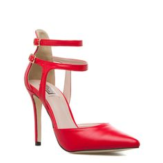 Fire engine red pointed toe sandals