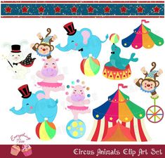 Circus Animals Clip Art Set by 1EverythingNice on Etsy