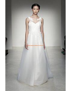Schöne ärmellose A-linie Hochzeitskleider aus Organza mit Applikation