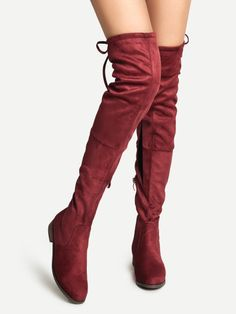 Burgundy Faux Suede Lace Up Over The Knee Boots -SheIn(Sheinside) Mobile Site