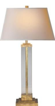 "MECOX Adrian- Table Lamp in Guilded Iron and Glass with natural Paper Shade 33  33"" H $375"