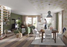 De muur in een trendy groent tint, houten elementen en bladeren behang - wij hebben alles om jouw appartement om te toveren tot een groene oase. | Hornbach