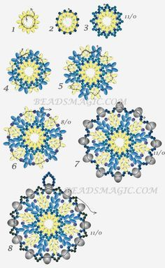 FREE Pattern for Beaded Pendant BLUE SNOWFLAKE | Beads Magic. Use: seed beads 11/0 and 8/0, Twin or SuperDuo beads, rondelle beads 4mm. Page 2 of 2