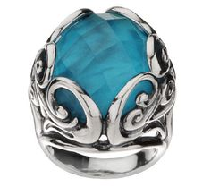 ☆Carolyn Pollack Sterling Teal Mother-of-Pearl Doublet Ring