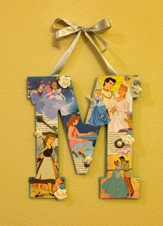 Any letter in Cinderella Disney Wooden Letter by SpikaInteriors