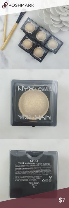 """NYX Cosmetics Baked Shadow """"Moonshine"""" Brand new, still sealed, 100% authentic, NYX Cosmetics Baked Eyeshadow in the color """"Moonshine"""".  This lightweight eye color really packs in the pigments.  The unique baked formula blends seamlessly and is ultra versatile.  Apply dry for an even wash of color or wet for a more dramatic look.  Listing is for one each.  Bundle with other items in my closet and save!  Happy Poshing!! NYX Cosmetics Makeup Eyeshadow"""