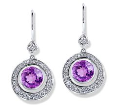 Jane Taylor Jewelry Rosebud Earrings Round tapered diamond pavé frame earrings with lavender amethyst in 14K white gold.