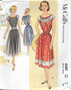 McCalls 8507-UNCUT 1950s Lovely Peasant Dress Vintage Sewing Pattern Size 14 Bust 32 by GrandmaMadeWithLove on Etsy https://www.etsy.com/listing/266436709/mccalls-8507-uncut-1950s-lovely-peasant