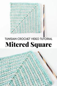Tunisian Crochet Blanket, Crochet Square Blanket, Tunisian Crochet Patterns, Crochet Stitches For Beginners, Basic Crochet Stitches, Tapestry Crochet, Crochet Squares, Crochet Basics, Crochet Shawl