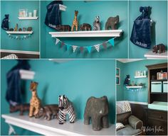 A teal and grey chevron safari nursery featuring grey and white chevron curtains and rug, teal and grey walls and safari animal accent pieces. Teal And Grey, Grey Chevron, Boys Sports Bedding, Baby Room Closet, Project Nursery, Nursery Ideas, Bedroom Ideas, Teal Rug, Safari Nursery