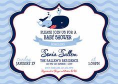Chevron Whale Baby Shower Invitation  Chevron by artisacreations, $12.00