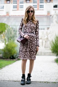 Chiara Ferragni does girlie with an irreverent twist.  #pfw #streetstyle #ss14