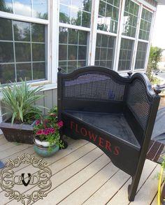 repurposed headboard bench