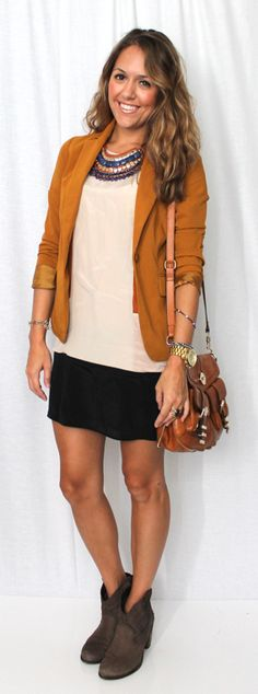 neutral top + camel jacket + black skirt- J's Everyday Fashion