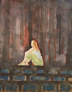 "watercolor...18 x 23 cm. Saatchi Online Artist OSCAR ALVAREZ; Painting, ""NOCHE EXTRAÑA"" #art"