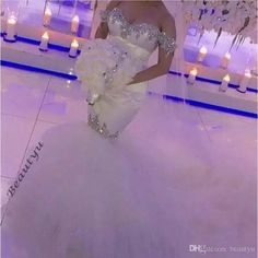Sexy Backless Lace Sleeve Wedding Dresses Mermaid Off The Shoulder Corset Crystals Beaded White Tulle Long Bridal Gown With Puffy Skirt 2017 Wedding Dresses Cheap Fast Shipping Wedding Dresses Custom Made Wedding Dresses Online with $212.58/Piece on Beautyu's Store | DHgate.com