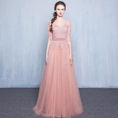 long A-line wedding dress ,half sleeves wedding dress ,tulle bridesmaid dress with lace ,pretty prom dress ,cheap wedding dress ,WD1771