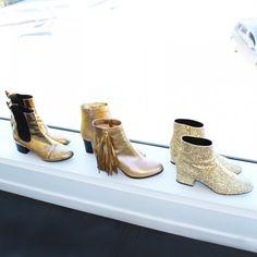 gold metallic booties