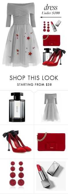 """""""Dress Under $100"""" by conch-lady ❤ liked on Polyvore featuring L'Artisan Parfumeur, Miu Miu, Rebecca de Ravenel, Burberry and under100"""
