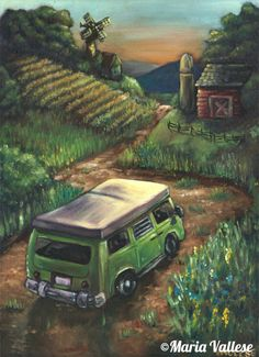 Traveling VW Bus II Matted and Signed Print - 11x14 $20 © Maria Vallese
