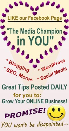 Great tips posted daily to increase your visibility ONLINE. I want to help YOU reach higher ground - just go LIKE my page and make sure you see it in your newsfeed daily!  Woohoo!  Excited to SERVE YOU...  (-_-)