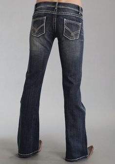 Stetson Womens Blue Cotton Blend 816 Fit Rhinestone Boot Cut Jeans