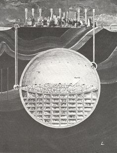 27 Cutaway Drawings That Show All the Secrets of Buildings. Shown: Architecture and City Planner Oscar Newman's plan of a massive underground sphere beneath Manhattan, NYC Baroque Architecture, Futuristic Architecture, Architecture Collage, Minimalist Architecture, Chinese Architecture, Architecture Visualization, Architecture Drawings, Architecture Illustrations, Architecture Diagrams