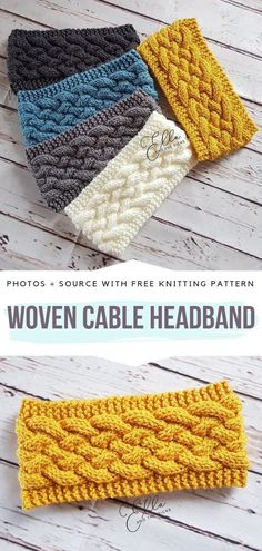 Woven Cable Headband Free Knitting Pattern Th., Woven Cable Headband Free Knitting Pattern These cable headbands are wide and cozy therefore will make a great acces. Knitting Terms, Free Knitting, Simple Knitting, Knitting Bags, Kids Knitting, Summer Knitting, Loom Knitting, Knitting Needles, Knitted Headband Free Pattern