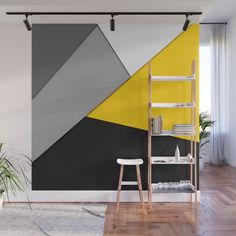 Simple Modern Gray Yellow and Black Geometric Wall Mural by blackstrawberry Bedroom Paint Design, Bedroom Wall Designs, Wall Decor Design, Home Room Design, Deco Design, Wall Panel Design, Geometric Wall Paint, Living Room Decor, Bedroom Decor