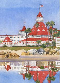 Hotel Del Coronado Reflected Painting by Mary Helmreich - Hotel Del Coronado Reflected Fine Art Prints and Posters for Sale
