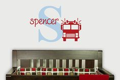 Fire Truck Fireman Initial Name Monogram by ToodlesDecalStudio