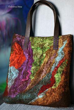 Ethnic Bag, Fibre And Fabric, Felt Purse, Crazy Patchwork, Art Bag, Unique Purses, Nuno Felting, Fabric Manipulation, Felt Art