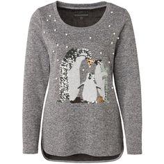 8f7e3927e58b83 ab 25.11.18  GINA grau-meliertes Damen Shirt mit Pinguinen aus Pailletten  und