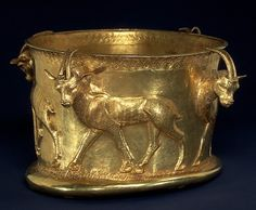 Gold drinking cup  It is decorated with a frieze of gazelles. It is 6.5cm high (2 1/2 inch.)  Northwest Iran, Iron Age, around 1000 BC.  Source: Metropolitan Museum