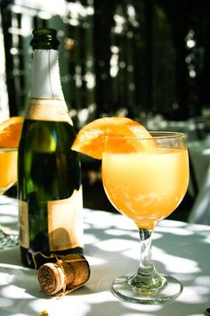 mimosa,  Instructions  Fill champagne flute 2/3 full (or 1/3, for Anglophiles) of fresh-squeezed orange juice and top up with brut champagne