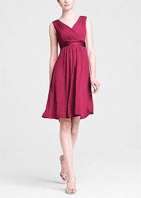 Cute but longer Comfortable and stylish, this jersey bridesmaid dress has serious wear-again potential. A sleeveless tank bodice features an elegant V-neck, while charmeuse trim highlights the waist. David's Bridal Style in Watermelon. Davids Bridal Bridesmaid Dresses, Wedding Dresses, Junior Bridesmaids, Bridesmaid Ideas, It Goes On, Junior Dresses, Dresses Dresses, Mini Dresses, Elegant Dresses