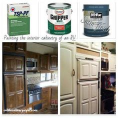 How to paint a camper interior! - RV Life Military Style camping ideas hacks, hiking backpacks for women, hiking trip packing list Camper Interior, Diy Camper, Camper Life, Rv Interior Remodel, Camper Ideas, Airstream, Travel Trailer Remodel, How To Remodel A Camper, Up House