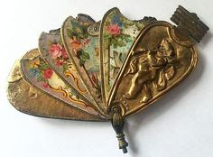 Antique Vintage Brass Avery Fan Shaped  Needle Case.