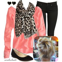 """Black, Coral & Leopard"" by sarahschuett on Polyvore"