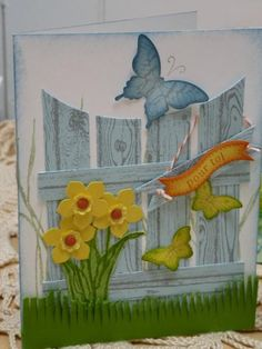 Fence card -.Hardwood background stamp, Petite Petals stamp and punch, Elegant and Bitty Butterfly punches. Fringe Scissors for the grass.