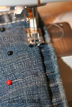 Need to hem jeans and this looks like the fastest and easiest way to do it.  Love Stitched: How to hem jeans {{Tutorial}}